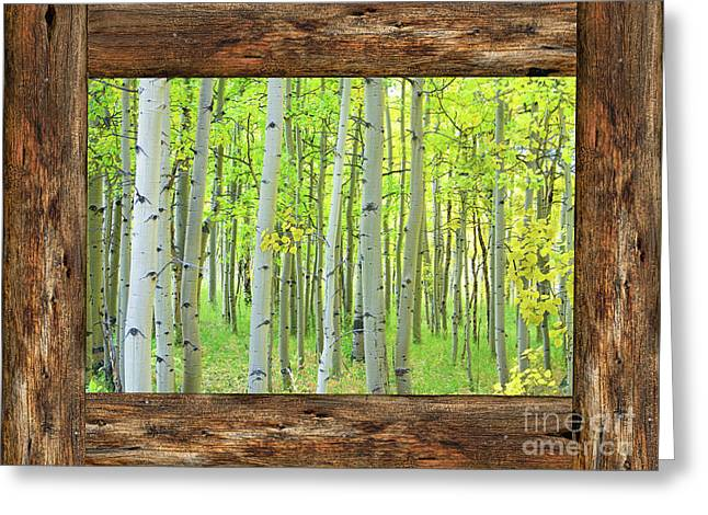 Cabin Window View Into The Woods Greeting Card