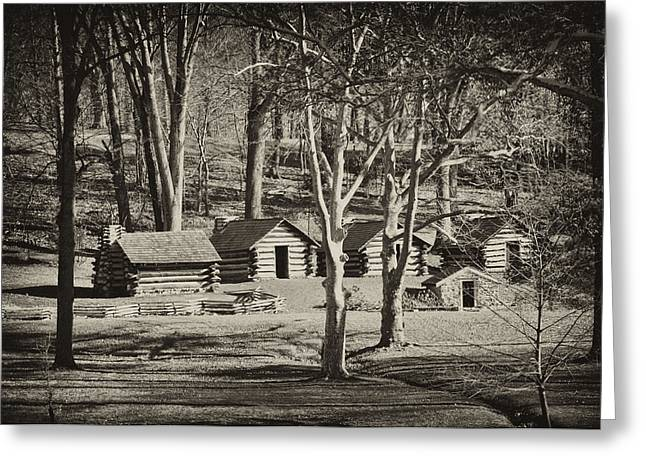 Log Cabins Greeting Cards - Cabins at Valley Forge Greeting Card by Bill Cannon