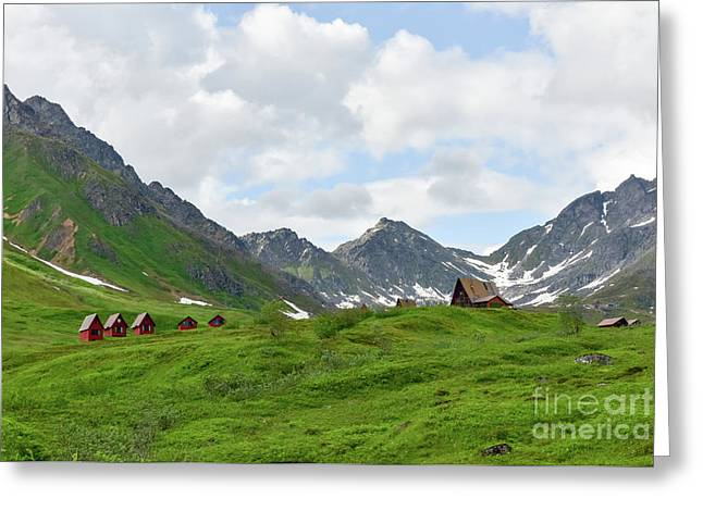 Cabins In The Alaskan Mountains Greeting Card