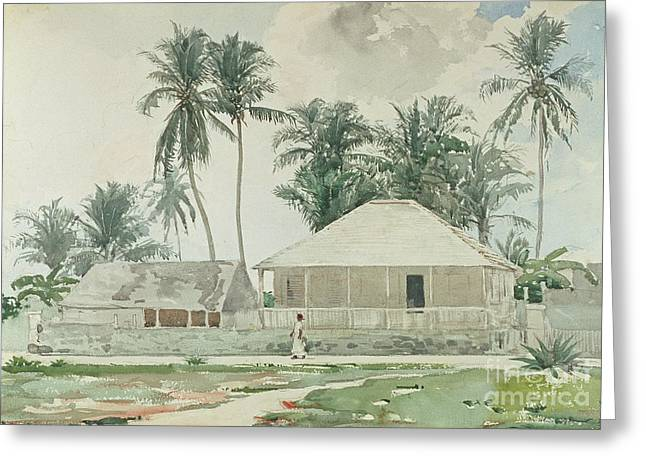 Cabins, Nassau Greeting Card by Winslow Homer