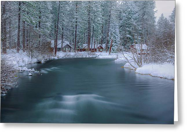Greeting Card featuring the photograph Cabins On The Metolius by Cat Connor