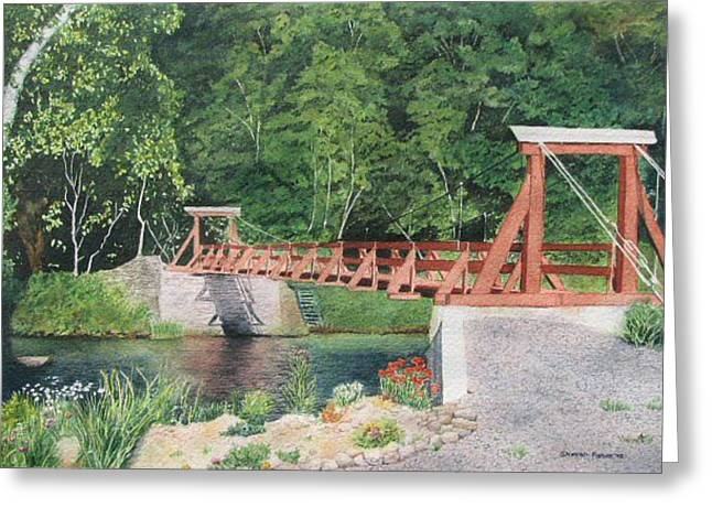 Cable Bridge Greeting Card by Sharon Farber