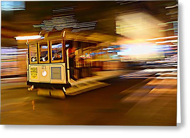 Greeting Card featuring the photograph Cable Car At Light Speed by Steve Siri
