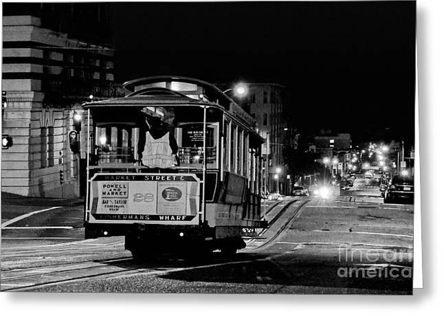Cable Car At Night - San Francisco Greeting Card