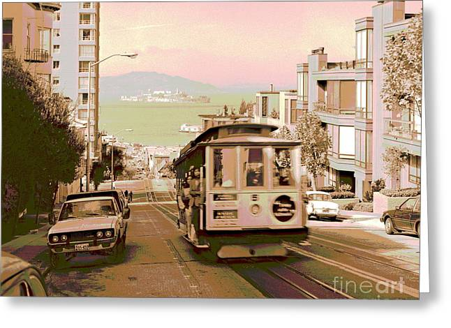 Cable Car On Hyde Street Hill San Francisco Greeting Card by Padre Art