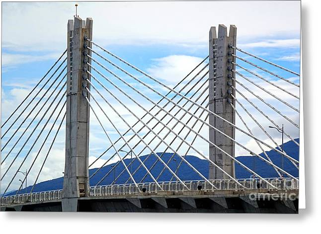 Greeting Card featuring the photograph Cable Stayed Bridge With Two Pylons by Yali Shi