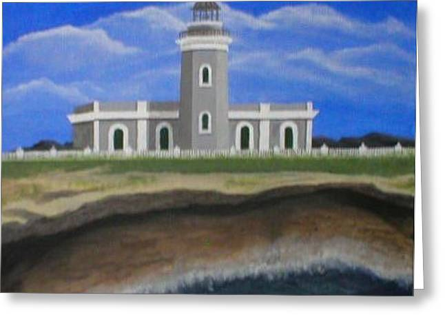 Greeting Card featuring the painting Cabo Rojo Lighthouse  by Edwin Alverio