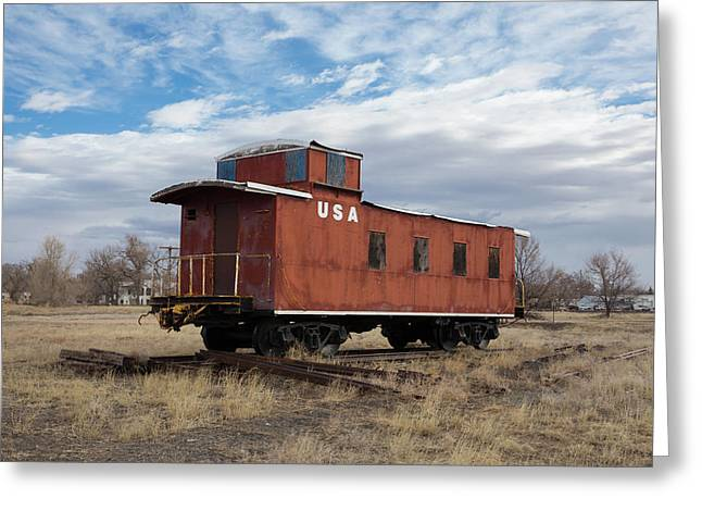 Caboose Hugo Union Pacific Railroad Roundhouse Greeting Card
