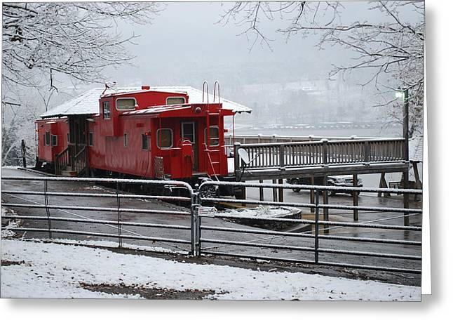 Caboose In Snow Greeting Card by Eric Armstrong
