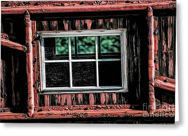 Greeting Card featuring the photograph Caboose Window by Brad Allen Fine Art