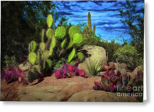 Cacti And Rock Greeting Card
