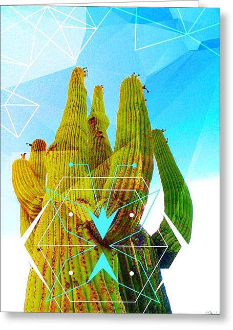 Greeting Card featuring the mixed media Cacti Embrace by Michelle Dallocchio