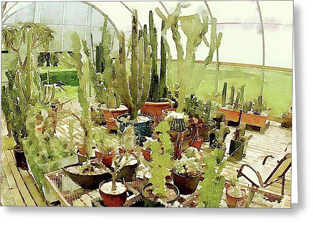 Cacti In The Greenhouse Greeting Card by Susan Maxwell Schmidt