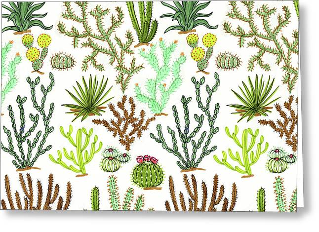 Cacti Pattern Greeting Card by Jacqueline Colley