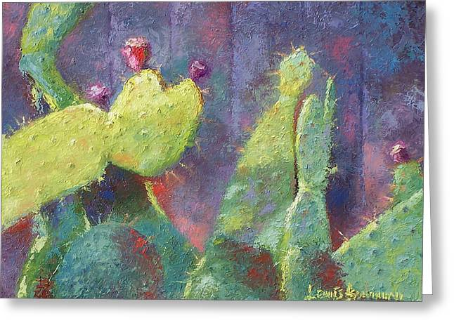 Prickly Pear Cactus Against Fence Greeting Card