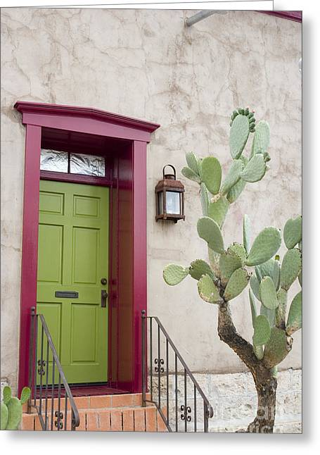 Entryway Greeting Cards - Cactus and doorway Greeting Card by Elvira Butler