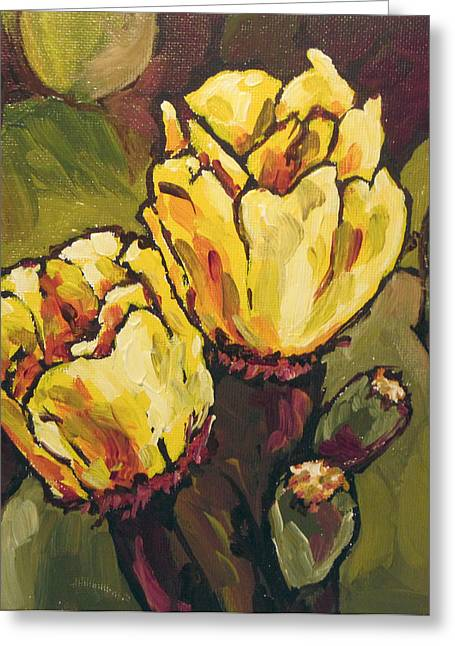 Cactus Blooms Greeting Card by Sandy Tracey