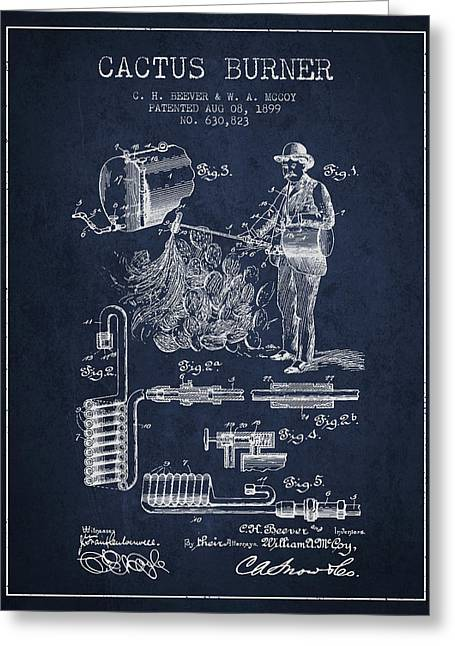 Cactus Burner Patent From 1899 - Navy Blue Greeting Card