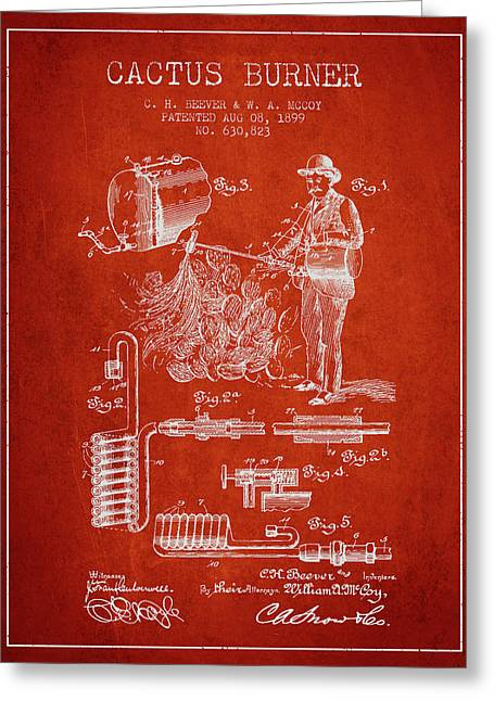 Cactus Burner Patent From 1899 - Red Greeting Card by Aged Pixel
