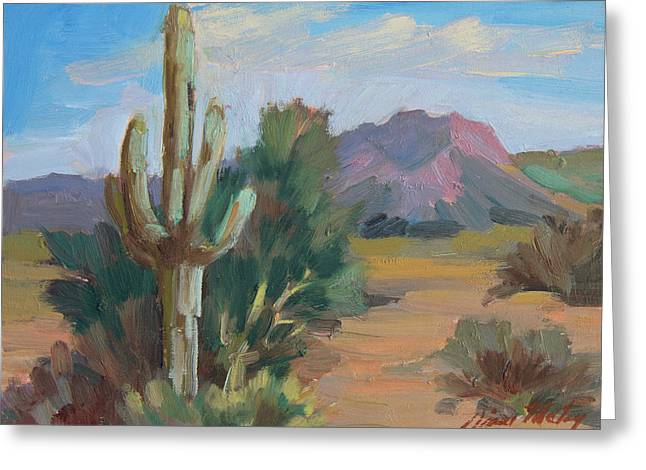 Greeting Card featuring the painting Cactus By The Red Mountains by Diane McClary