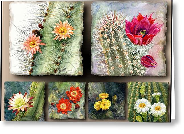 Greeting Card featuring the painting Cactus Collage 10 by Marilyn Smith