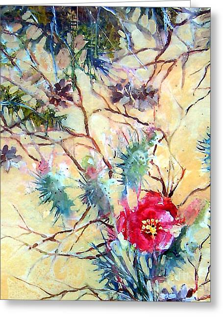 Greeting Card featuring the painting Cactus Flower by Linda Shackelford