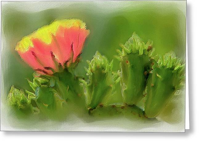 Greeting Card featuring the painting Cactus Flower On A Cactus Plant Ap by Dan Carmichael