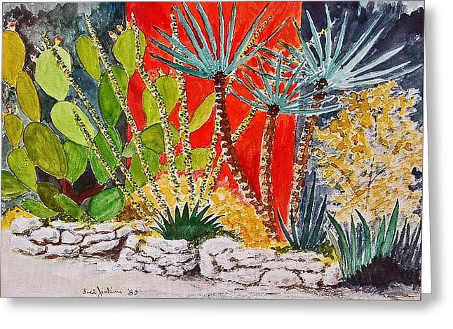 Cactus Garden  Greeting Card by Fred Jinkins
