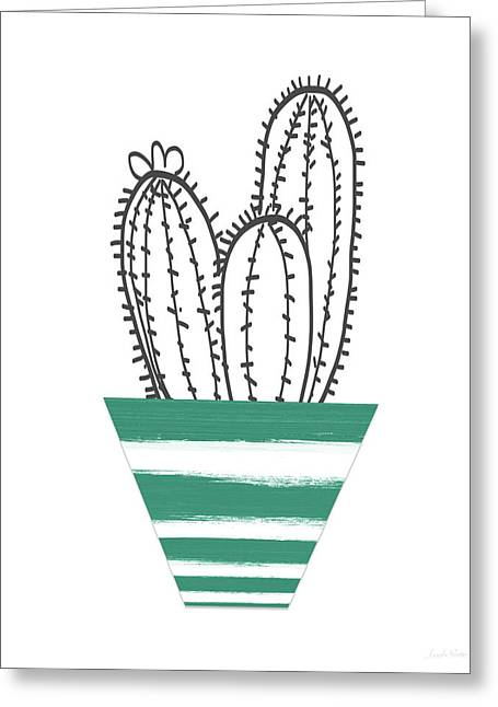 Cactus In A Green Pot- Art By Linda Woods Greeting Card by Linda Woods