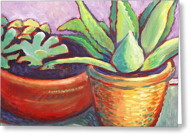 Cactus In Planters Greeting Card