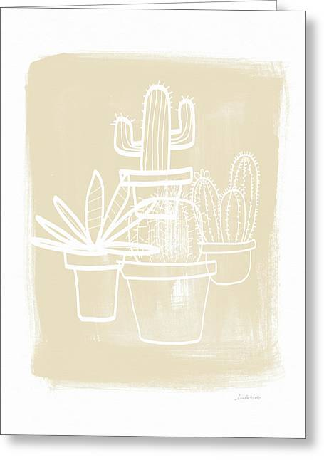 Cactus In Pots- Art By Linda Woods Greeting Card by Linda Woods