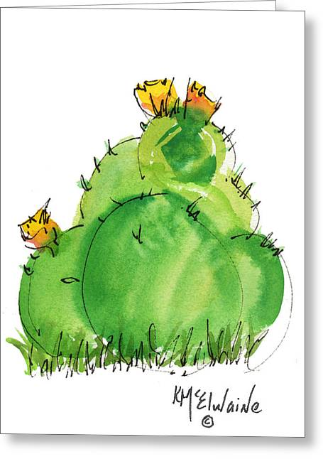Cactus In The Yellow Flower Watercolor Painting By Kmcelwaine Greeting Card by Kathleen McElwaine