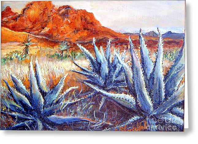 Greeting Card featuring the painting Cactus View by Linda Shackelford