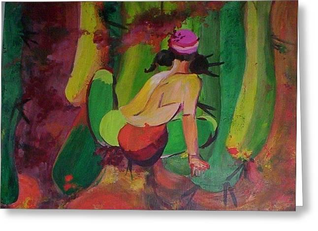 Cactus Woman Greeting Card by Georgia Annwell