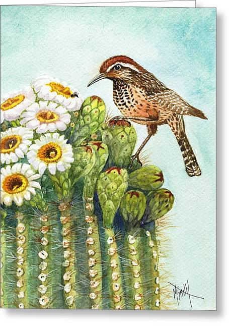Greeting Card featuring the painting Cactus Wren And Saguaro by Marilyn Smith