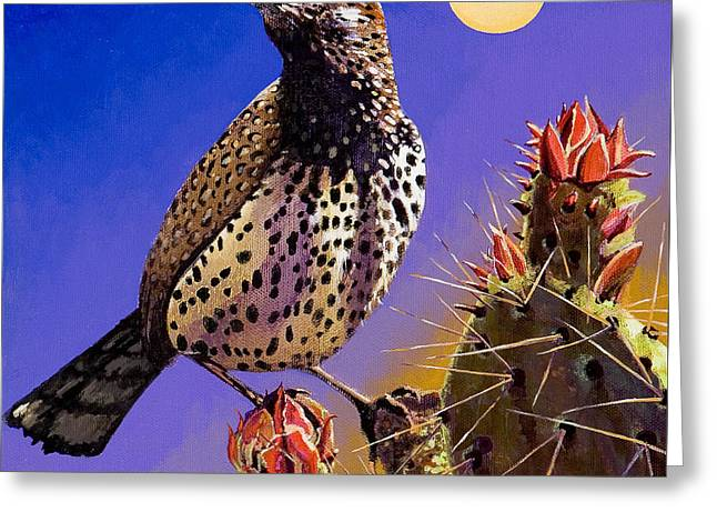 Greeting Card featuring the painting Cactus Wren by Bob Coonts