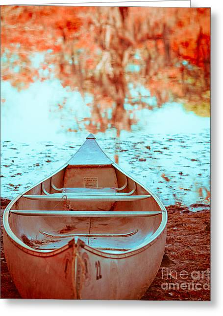 Caddo Canoe In Fall Greeting Card by Sonja Quintero