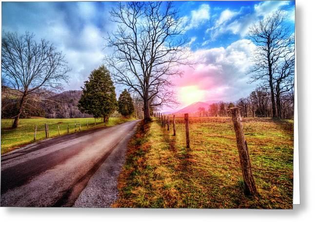 Cades Country Lane Greeting Card by Debra and Dave Vanderlaan