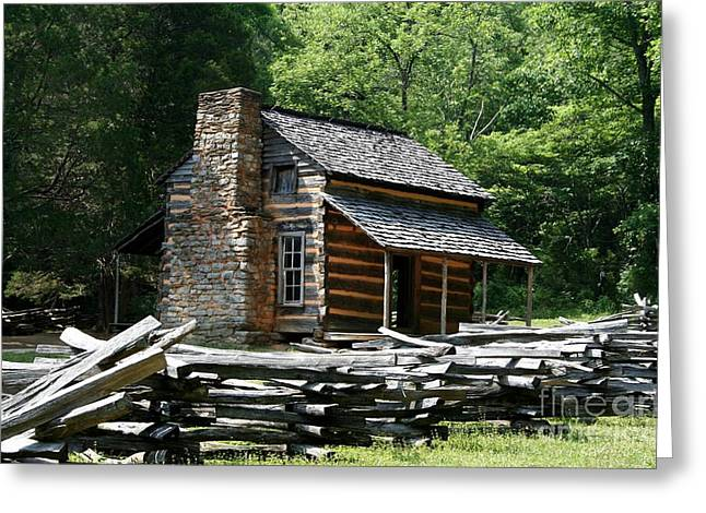 Greeting Card featuring the photograph Cade's Cove Cabin by John Black