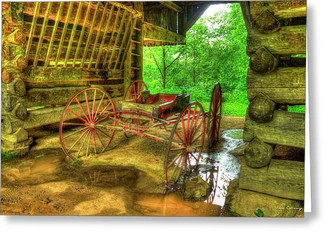 Cades Cove Carriage At Cantilever Barn Greeting Card by Reid Callaway