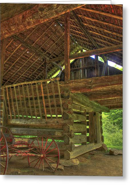 Cades Cove Counter-lever Barn Greeting Card by Reid Callaway