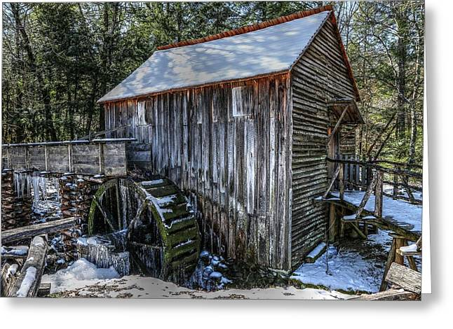 Cades Cove Grist Mill In Winter Greeting Card