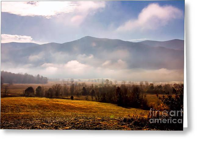 Cades Cove Misty Morn Greeting Card