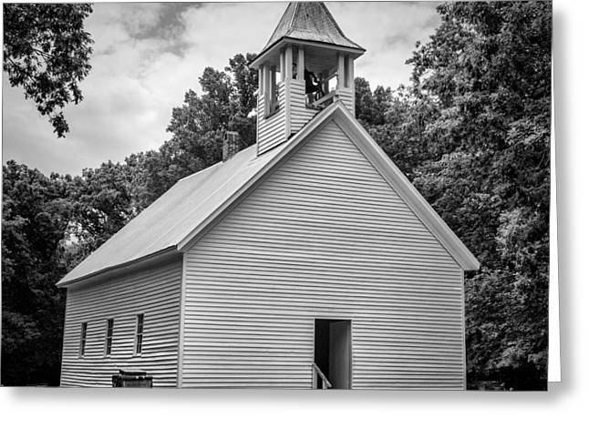 Cades Cove Primitive Baptist Church - Bw 1 Greeting Card by Stephen Stookey