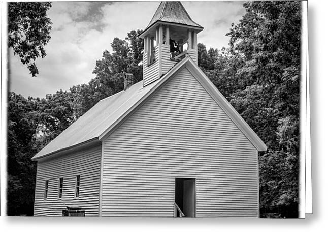 Cades Cove Primitive Baptist Church - Bw W Border Greeting Card by Stephen Stookey