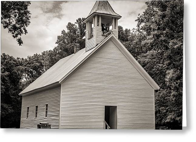 Cades Cove Primitive Baptist Church - Toned Bw Greeting Card by Stephen Stookey