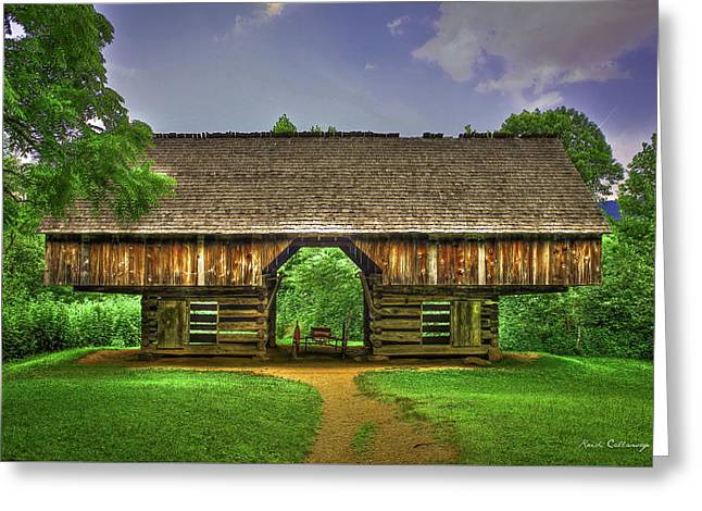 Cades Cove's Cantilever Barn Greeting Card by Reid Callaway