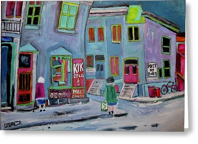 Vintage Cadieux Street Debullion Neighbourhood Greeting Card by Michael Litvack