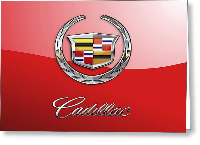 Cadillac - 3 D Badge On Red Greeting Card