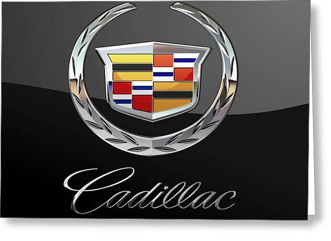 Cadillac - 3 D Badge On Black Greeting Card by Serge Averbukh